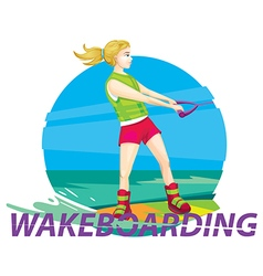 Wake boarding girl rider vector