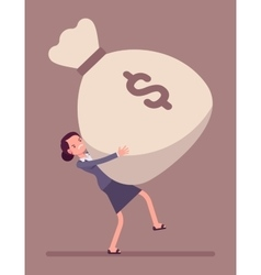 Businesswoman dragging a giant money sack vector