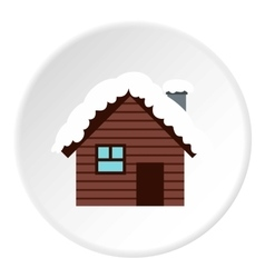 Snowy house icon flat style vector