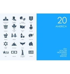Set of BLUE HAMSTER Library United States icons vector image