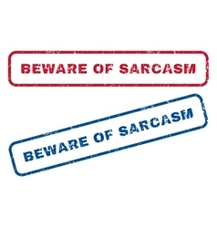 Beware of sarcasm rubber stamps vector