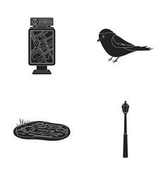 Territory plan bird lake lighting pole park vector