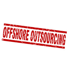 Square grunge red offshore outsourcing stamp vector
