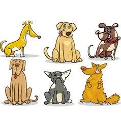 Cute dogs set cartoon vector