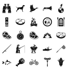 Fishing holidays icons set simple style vector