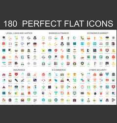 180 modern flat icon set of legal law justice vector image vector image
