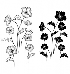Silhouettes delicate flowers vector