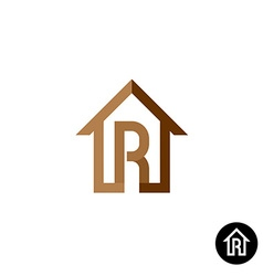 Letter r with house logo vector