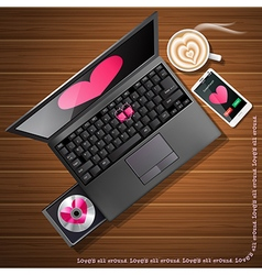 Heart shape on laptop and mobile phone with coffee vector
