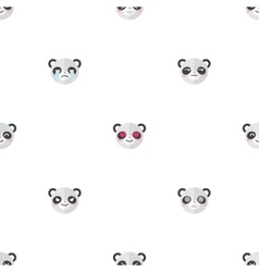 Flat cartoon panda heads with different vector