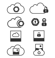 Cloud data backup icons vector