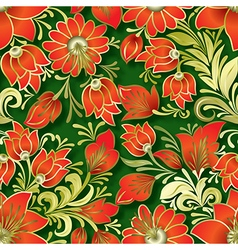 Seamless red floral ornament on green background vector