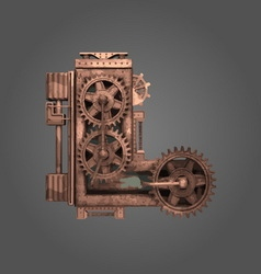 L rusted letter with gears vector