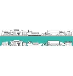 Logistic concept flat banner production process vector