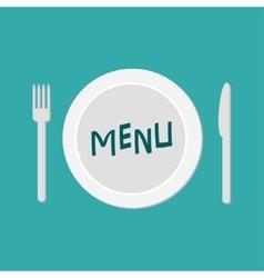 Plate with fork knife and chefs hat restaurant vector