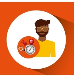 Afroameican man collection navigation elements vector