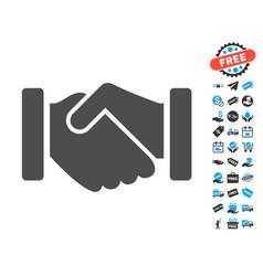 Agreement handshake flat icon with free bonus vector