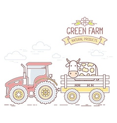Agribusiness of red farm tractor with cart vector