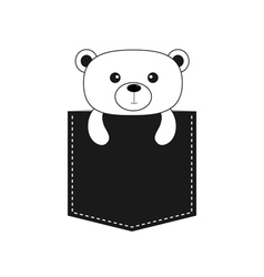 Bear in the pocket cute cartoon contour character vector