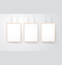 blank wood frames group on the wall mockup vector image vector image