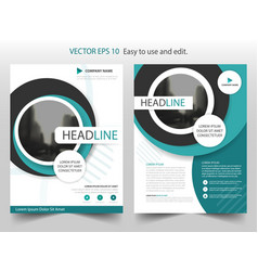 Blue circle brochure annual report flyer design vector