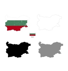 Bulgaria country black silhouette and with flag on vector image vector image