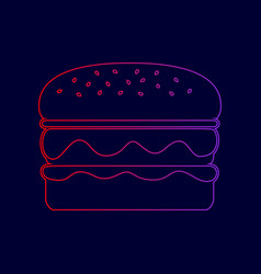 Burger simple sign line icon with vector