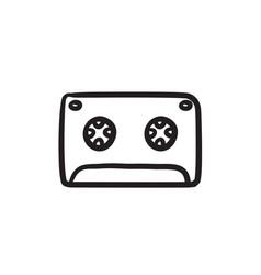 Cassette tape sketch icon vector