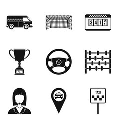 Chauffeur icons set simple style vector