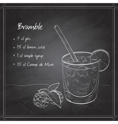 Cocktail bramble on black board vector