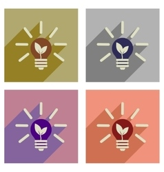 Concept of flat icons with long shadow eco light vector