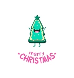 Cookie christmas tree cheerful card vector