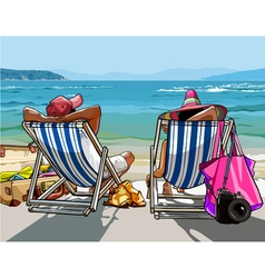 couple of tourists with things a rest on the sun vector image vector image