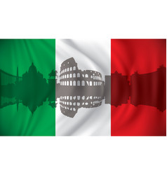 flag of italy with rome skyline vector image vector image