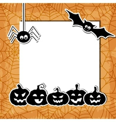 Halloween grunge background with black pumpkins vector image