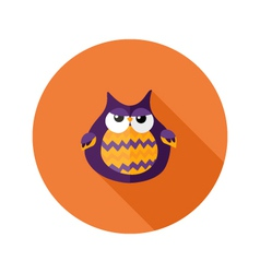 Halloween owl flat icon over orange vector