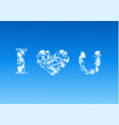 Heart shaped cloud in blue sky vector