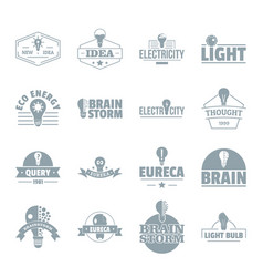 lamp logo icons set simple style vector image