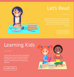 Let read learning kids banners with schoolchildren vector