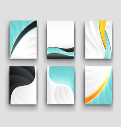 Minimal curve wave set background with shadow and vector