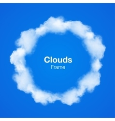 Realistic Clouds Circle Frame on blue sky vector image