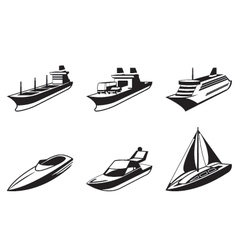 Sea ships and boats in perspective vector