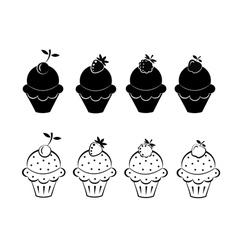 Set of ice cream icons vector