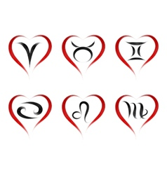 set stylish zodiac signs in the shape heart vector image vector image
