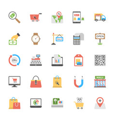 shopping and commerce flat icons vector image