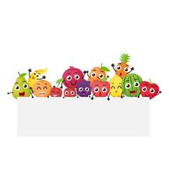 various fruits cartoon with blank sign vector image