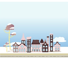 Winter city houses on blue background vector
