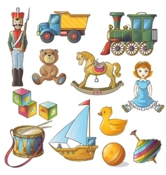 Kids toys icon set vector