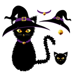 Black cat witch hat vector