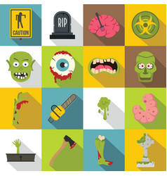 Zombie icons set parts flat style vector
